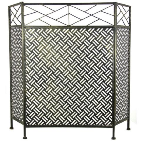 Black & Gold Highlights Contemporary Fire Guard Screen